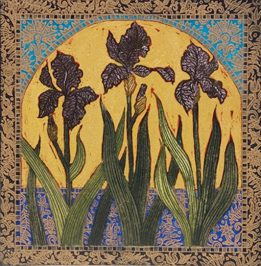 "'Black Iris' limited edition11 of 30, 14"" x 12.5"", etching with gold leaf"