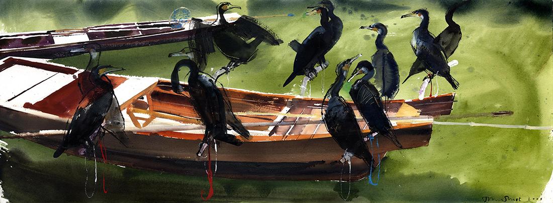 Cormorants,-Xitang-watertown,--Jiashan,-China