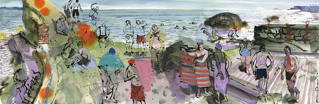 Summer-Swim-Colourful,-Forty-Foot,-Sandycove,-County-Dublin,-Ireland