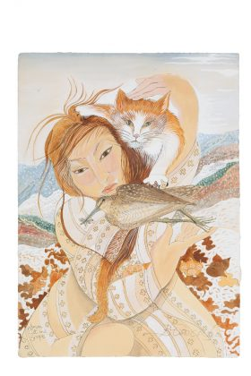 Woman Cat and Snipe 2010 Limited Ed Print edited image